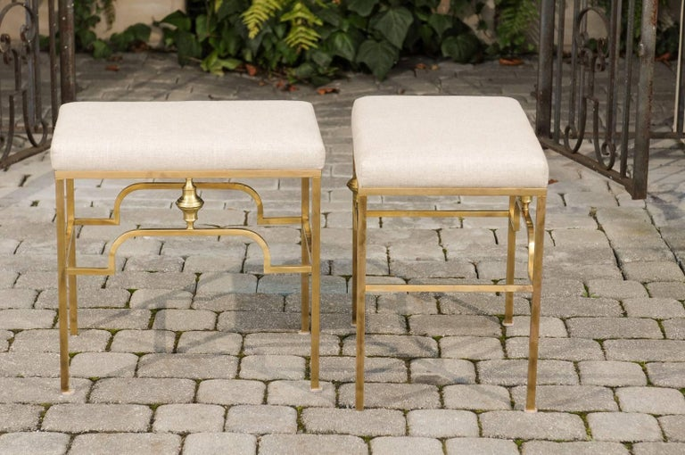 Pair of Midcentury Italian Stools with Brass Armature and Upholstered Seats For Sale 3