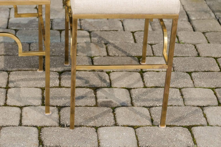 Pair of Midcentury Italian Stools with Brass Armature and Upholstered Seats For Sale 5
