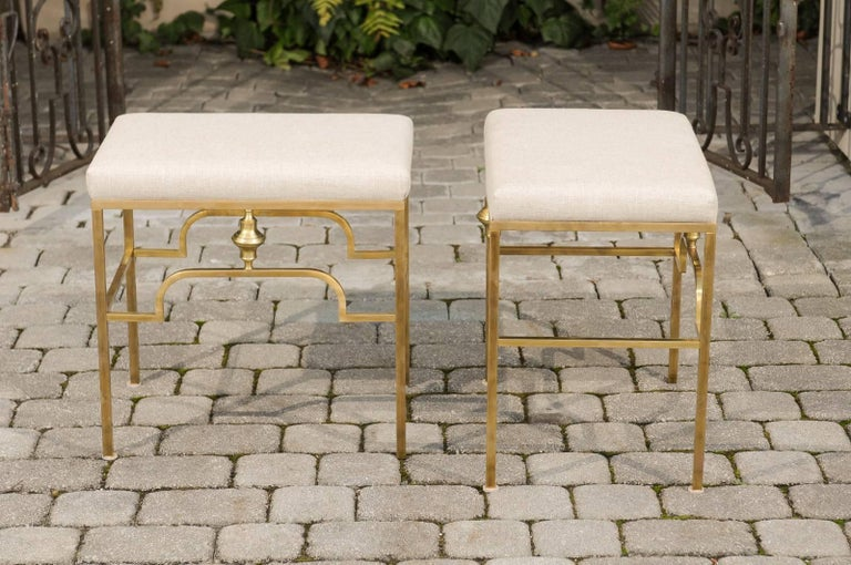 Pair of Midcentury Italian Stools with Brass Armature and Upholstered Seats For Sale 1