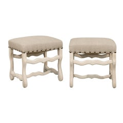 Pair of French Bleached Wood Louis XIII Style Upholstered Os de Mouton Stools