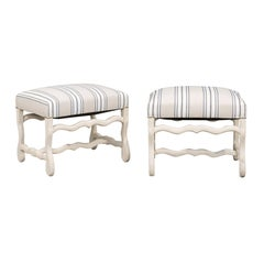Pair of French 1900s Bleached Wood Os de Mouton Stools with Upholstered Seats