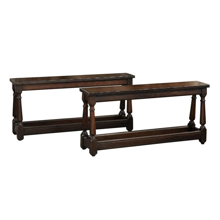 English, 1880s Oak Bench with Splayed Baluster-Turned Legs and Side Stretchers