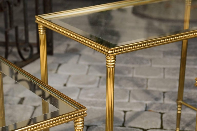 Set of Three 1950s French Brass and Glass Nesting Tables with Beaded Trim For Sale 3