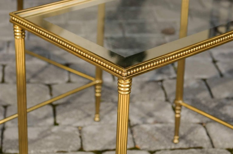 Set of Three 1950s French Brass and Glass Nesting Tables with Beaded Trim For Sale 4
