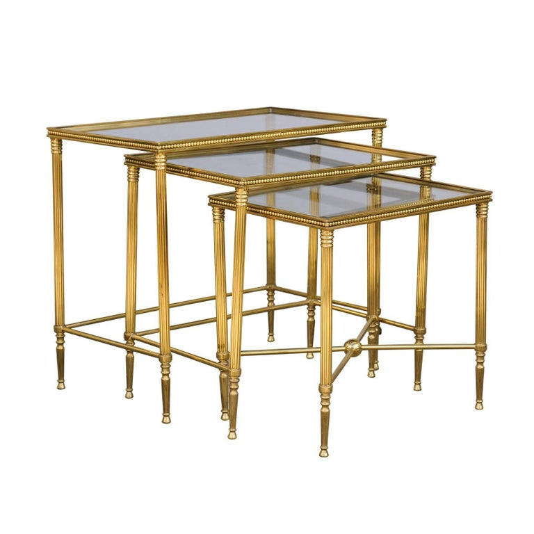 Set of Three 1950s French Brass and Glass Nesting Tables with Beaded Trim For Sale
