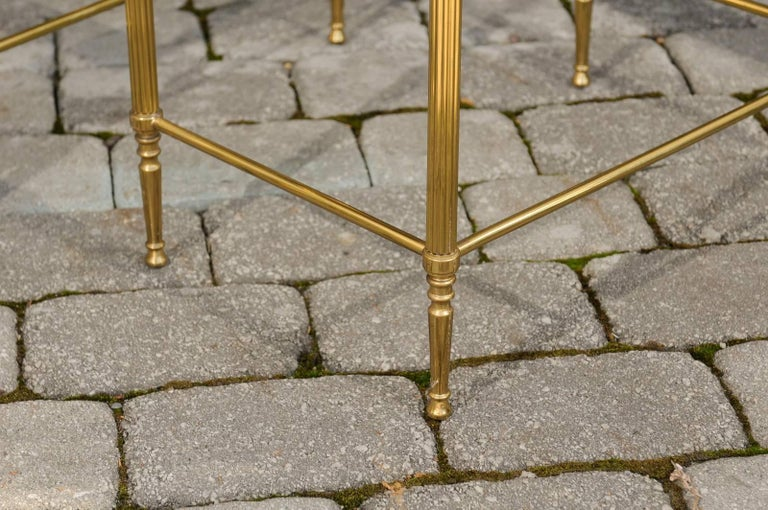 Set of Three 1950s French Brass and Glass Nesting Tables with Beaded Trim For Sale 5