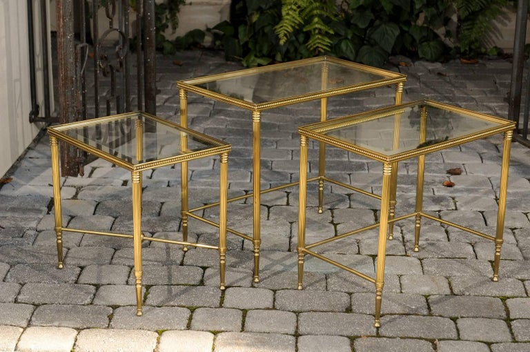Set of Three 1950s French Brass and Glass Nesting Tables with Beaded Trim For Sale 1