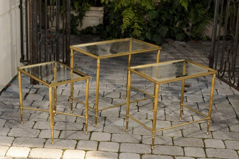 Set of Three 1950s French Brass and Glass Nesting Tables with Beaded Trim For Sale 2