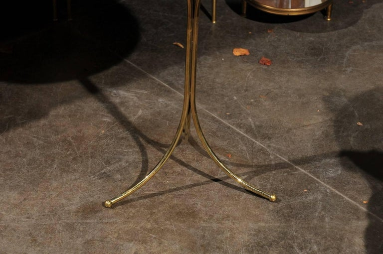 20th Century Italian Vintage Round Drinks Table with White Marble Top and Brass Pedestal Base For Sale
