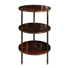 Vintage Italian 1950s Wood and Brass Three-Tiered Stand with Fluted Supports