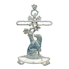 French 1900s Enameled Umbrella Stand Depicting a Dog Sitting in Front of a Tree