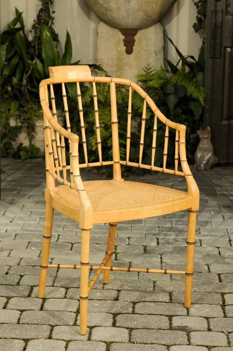 Baker Furniture Vintage Faux Bamboo Tub Chair with Cane Seat and ...