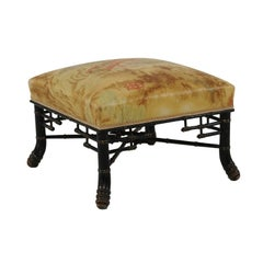 French 1880s Napoleon III Ebonized Faux Bamboo Stool with Chinoiserie Upholstery