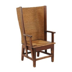 Scottish Late 19th Century Orkney Chair with Wraparound Handwoven Straw Back