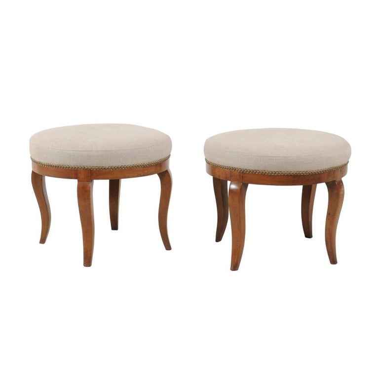 Pair of 1860s Biedermeier Austrian Round Upholstered Stools with Cabriole Legs