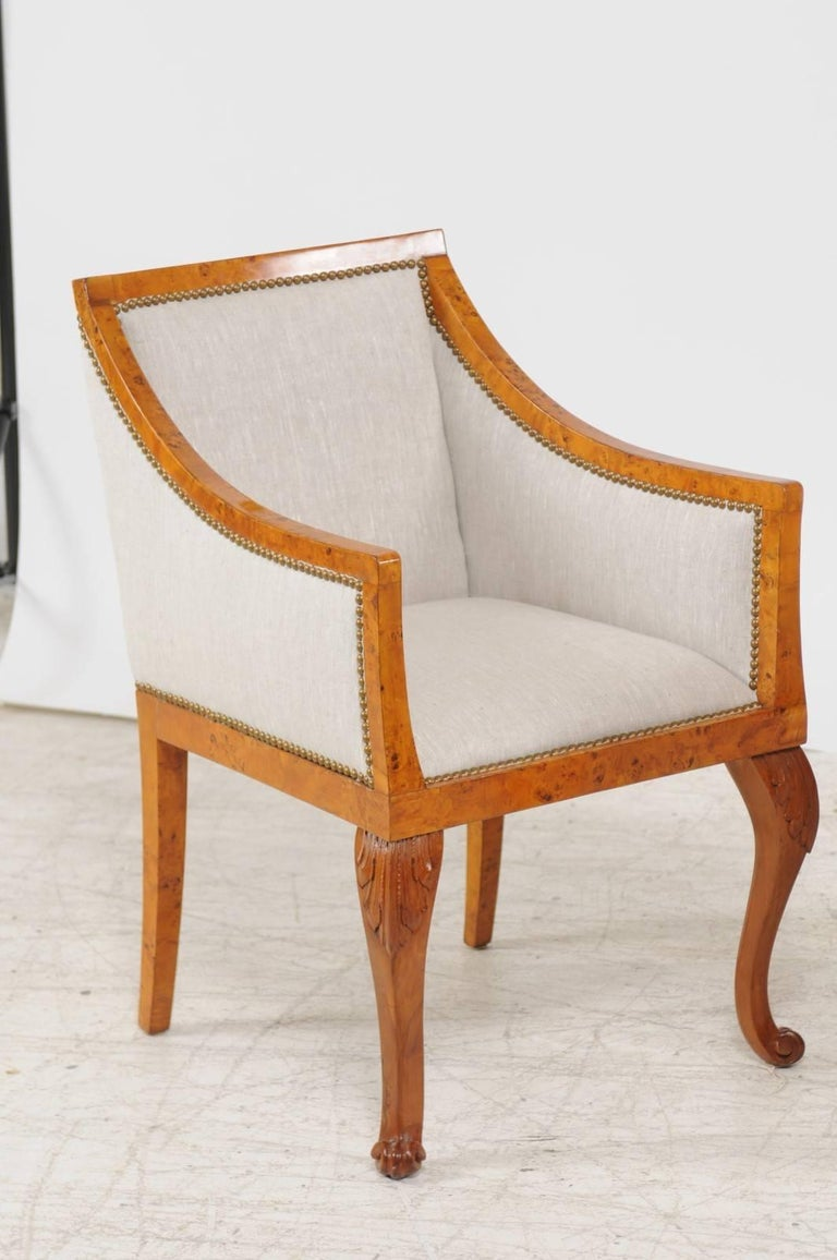 Pair of 1850s Biedermeier Austrian Burled Wood Bergères with New Upholstery In Good Condition For Sale In Atlanta, GA