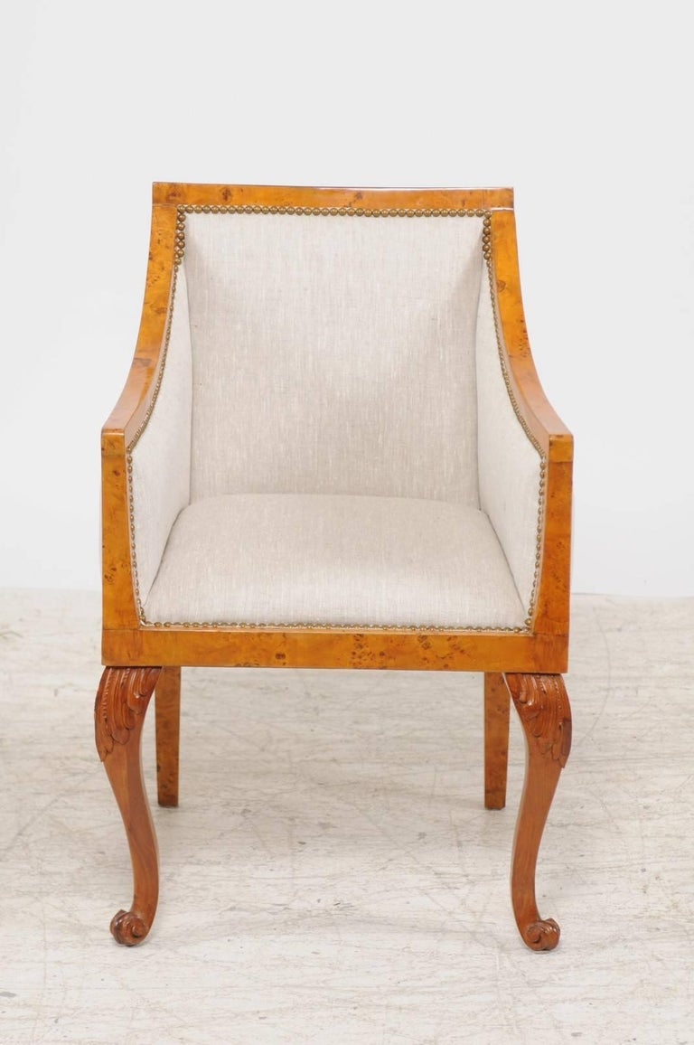 19th Century Pair of 1850s Biedermeier Austrian Burled Wood Bergères with New Upholstery For Sale