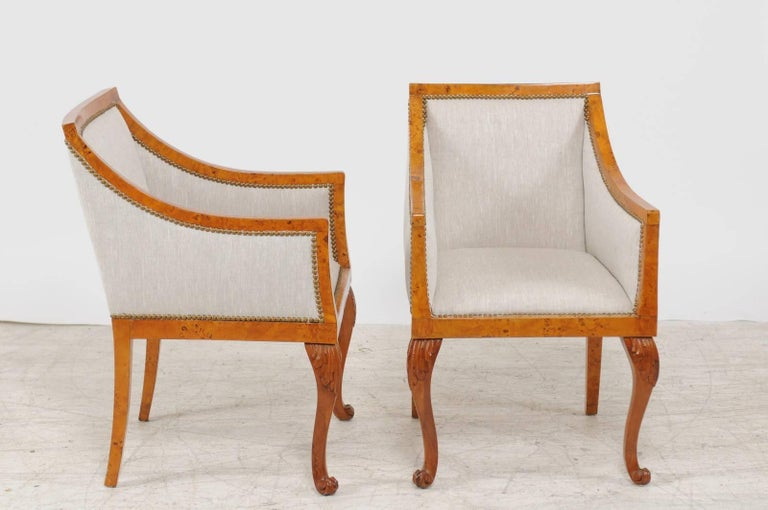 Pair of 1850s Biedermeier Austrian Burled Wood Bergères with New Upholstery For Sale 1