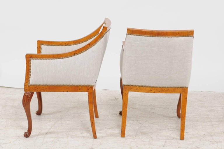 Pair of 1850s Biedermeier Austrian Burled Wood Bergères with New Upholstery For Sale 4