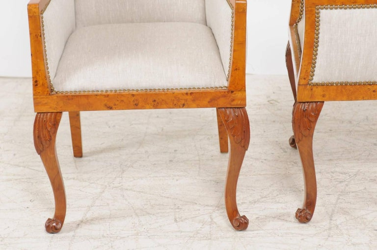 Pair of 1850s Biedermeier Austrian Burled Wood Bergères with New Upholstery For Sale 6