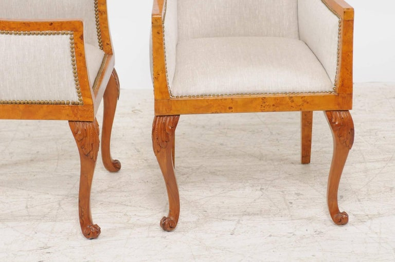Pair of 1850s Biedermeier Austrian Burled Wood Bergères with New Upholstery For Sale 2