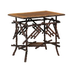 English 1880s Chinese Chippendale Style Briar Side Table with Unusual Top