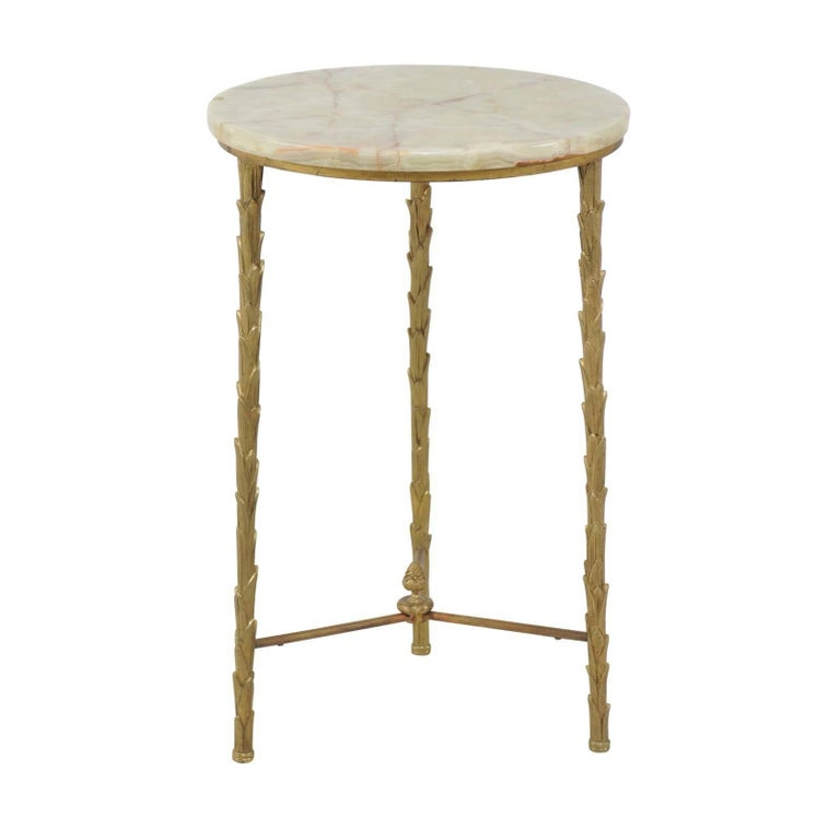 French Midcentury Bronze Guéridon Side Table with Foliage Motifs and Marble Top