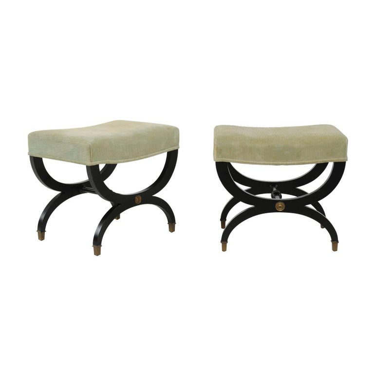 Pair of French Empire Style Ebonized Wood Upholstered Curule Stools, circa 1920