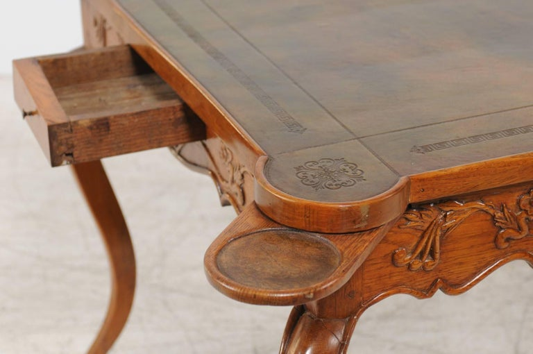 French Louis XV Style 1870s Carved Oak Game Table with Leather Top and Pull Outs For Sale 2