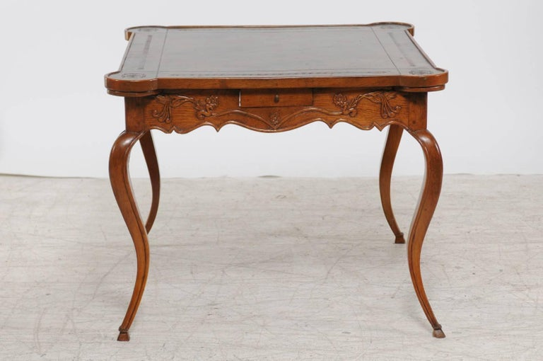 French Louis XV Style 1870s Carved Oak Game Table with Leather Top and Pull Outs For Sale 4