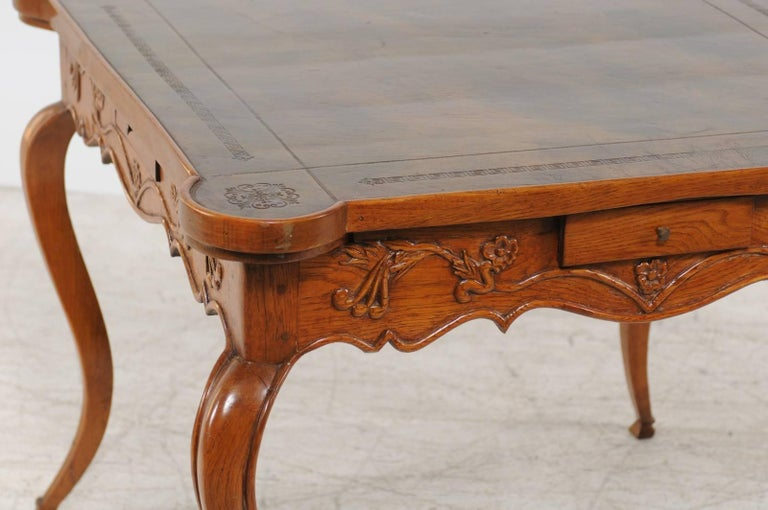 French Louis XV Style 1870s Carved Oak Game Table with Leather Top and Pull Outs In Good Condition For Sale In Atlanta, GA