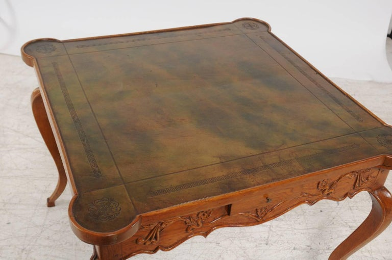 19th Century French Louis XV Style 1870s Carved Oak Game Table with Leather Top and Pull Outs For Sale