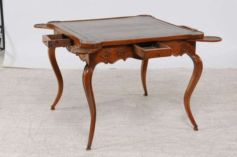 French Louis XV Style 1870s Carved Oak Game Table with Leather Top and Pull Outs For Sale 1