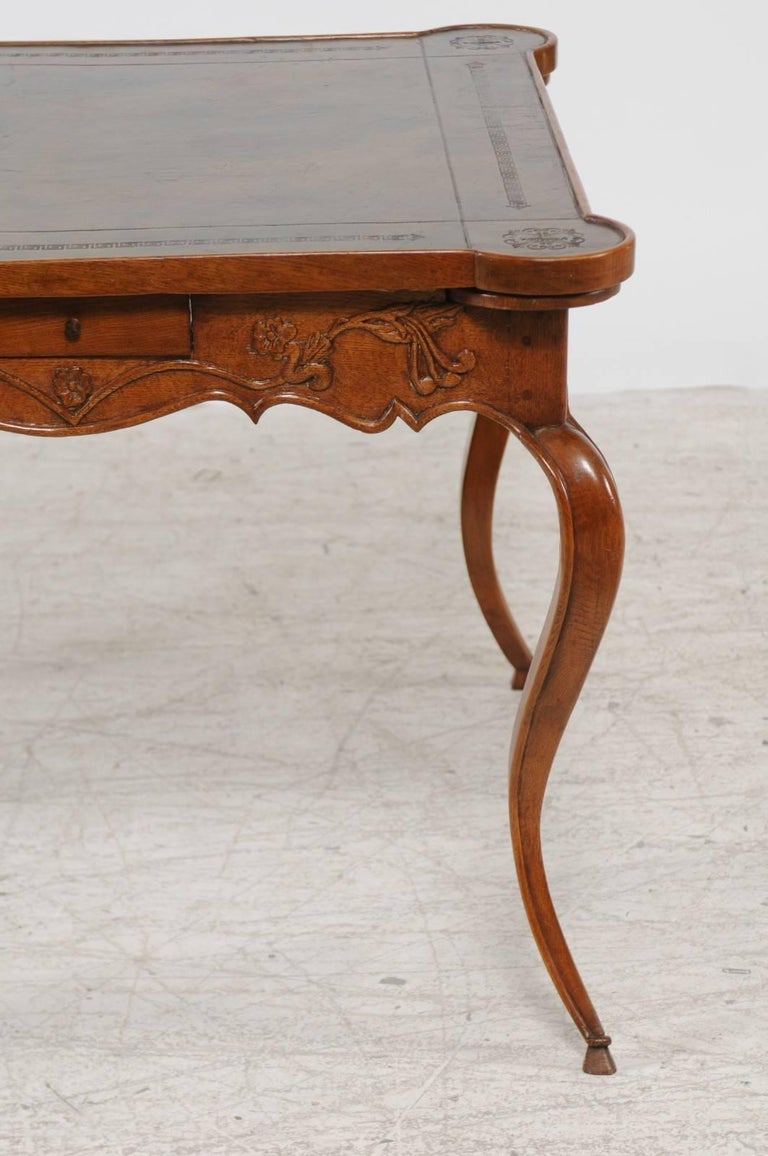 French Louis XV Style 1870s Carved Oak Game Table with Leather Top and Pull Outs For Sale 6