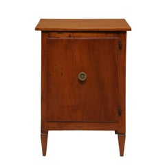 Petite 1800s Italian Neoclassical Walnut Single Door Cabinet with Tapered Feet