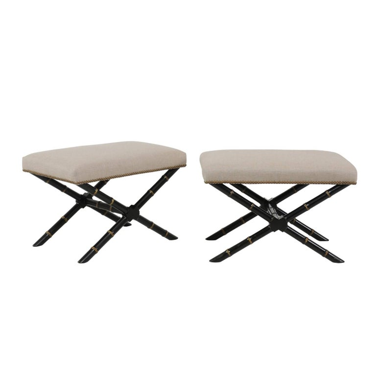 Pair of French Ebonized and Gilded Faux-Bamboo X-Form Stools, circa 1950
