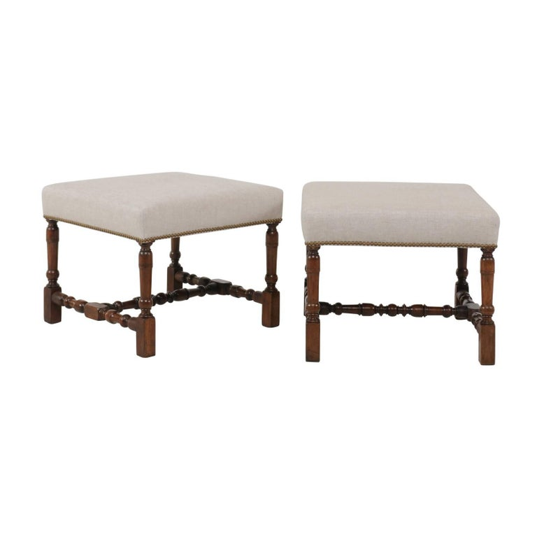 Pair of English Walnut Stools with Turned Legs and Cross Stretcher, circa 1870