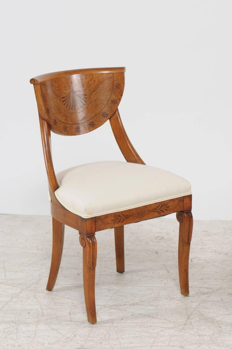 Veneer Pair of 1840s Austrian Biedermeier Upholstered Side Chairs with Marquetry Décor For Sale