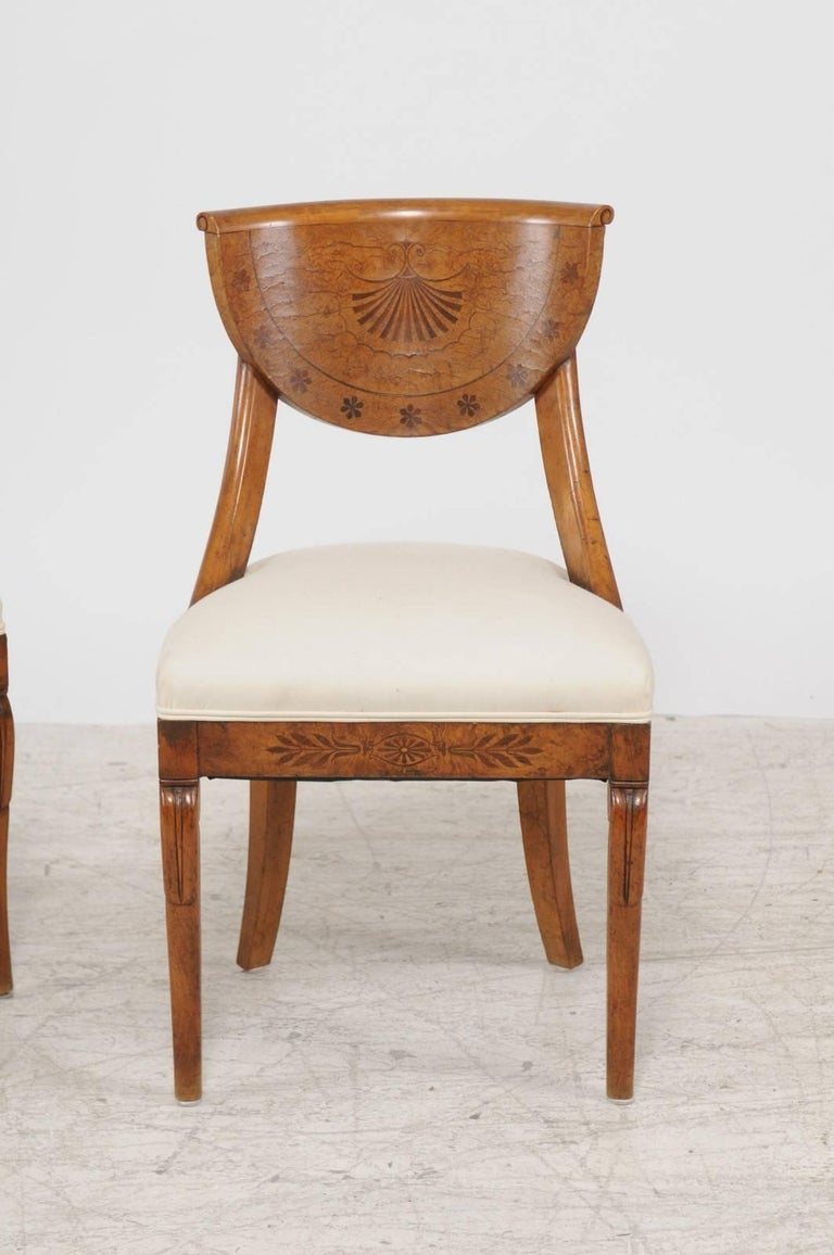 Pair of 1840s Austrian Biedermeier Upholstered Side Chairs with Marquetry Décor In Good Condition For Sale In Atlanta, GA