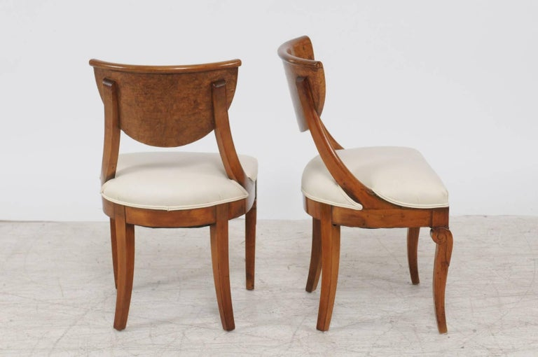 Upholstery Pair of 1840s Austrian Biedermeier Upholstered Side Chairs with Marquetry Décor For Sale