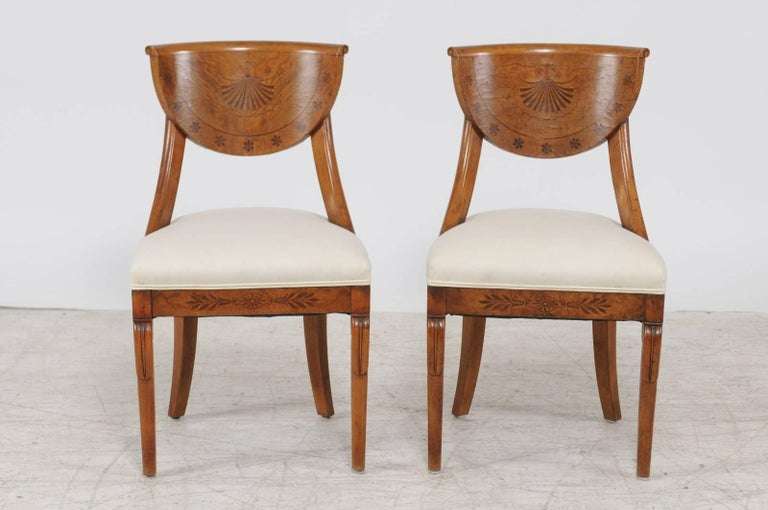 Pair of 1840s Austrian Biedermeier Upholstered Side Chairs with Marquetry Décor For Sale 3