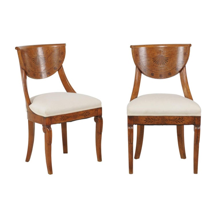 Pair of 1840s Austrian Biedermeier Upholstered Side Chairs with Marquetry Décor