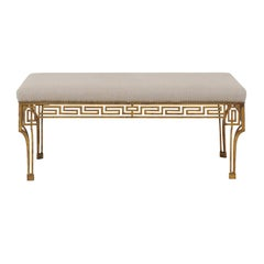 French Vintage 1940s Gilt-Iron Upholstered Bench with Greek Key Themed Skirt