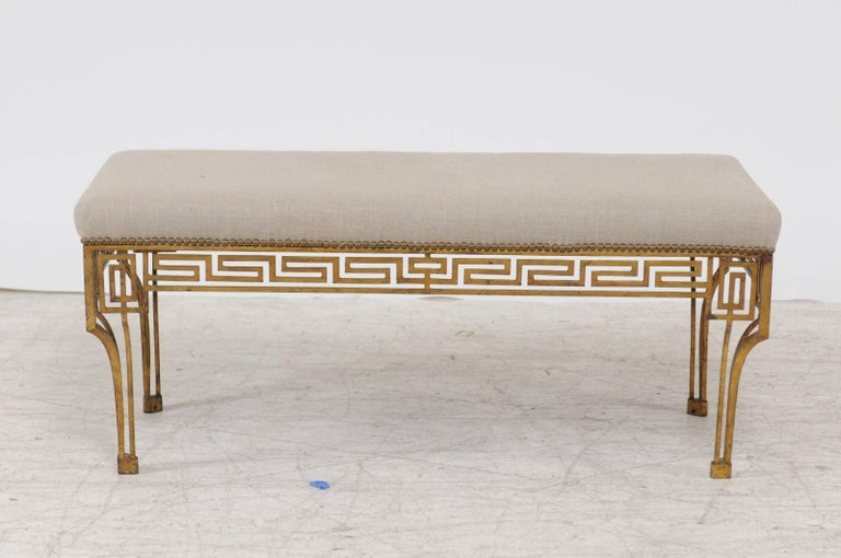 French Vintage 1940s Gilt Iron Upholstered Bench With Greek Key Themed Skirt At 1stdibs