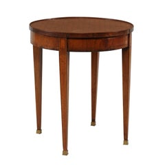 French Round Game Table with Flip Top and Tapered Legs from the 1870s