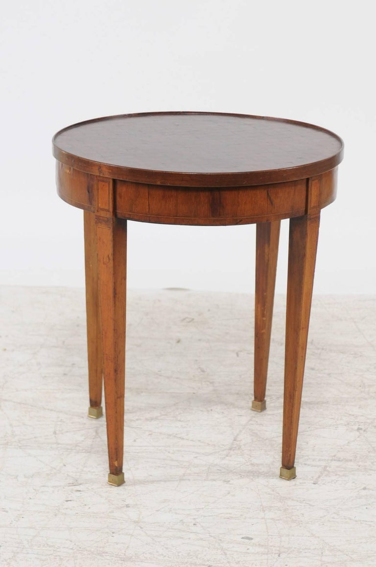 Inlay French Louis XVI Style 1870s Round Game Table with Flip Top and Tapered Legs For Sale