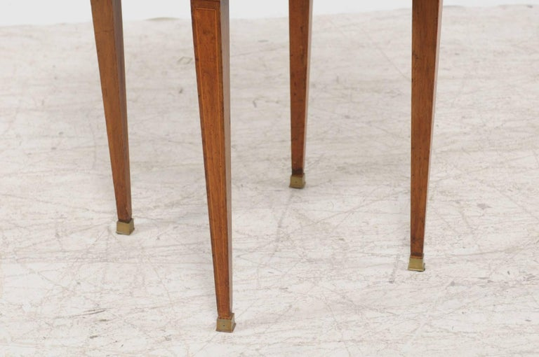 Brass French Louis XVI Style 1870s Round Game Table with Flip Top and Tapered Legs For Sale