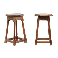 Pair of French 1880s Oak Stools with Octagonal Tops and Column Shaped Legs