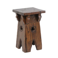 Spanish Oak Stool with Trefoil Motifs and Brackets from the Early 20th Century