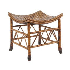 Egyptian Revival Thebes Bamboo Stool from Early 20th Century, England